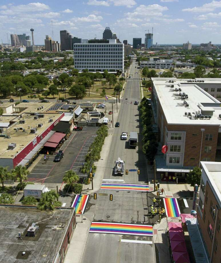 A just-finished, rainbow-themed set of crosswalks at Main and Evergreen near San Antonio College is seen Wednesday, June 27, 2018. Photo: William Luther, Staff / San Antonio Express-News / © 2018 San Antonio Express-News