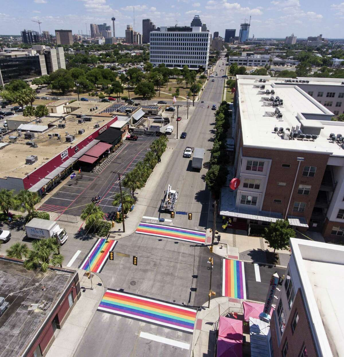 A just-finished, rainbow-themed set of crosswalks at Main and Evergreen near San Antonio College is seen Wednesday, June 27, 2018.