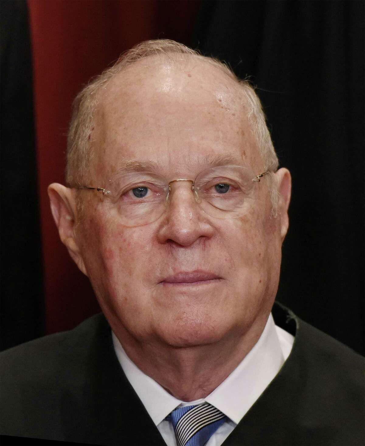 Associate Justice Anthony M. Kennedy poses during a group photograph at the Supreme Court building on June 1, 2017, in Washington, D.C. Kennedy is retiring, giving President Trump a chance to shift the court further to the right. (Olivier Douliery/Abaca Press/TNS)