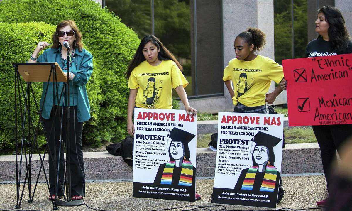 Protestors gathered during a Protest the Name Change/Keep Mexican American Studies Rally and press conference before the State Board of Education meeting in Austin on June 12, 2018.