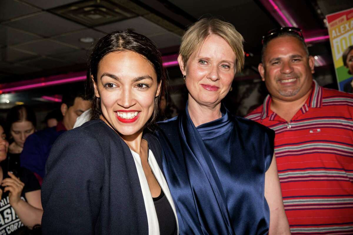 *** BESTPIX *** NEW YORK, NY - JUNE 26: Progressive challenger Alexandria Ocasio-Cortez is joined by New York gubenatorial candidate Cynthia Nixon at her victory party in the Bronx after upsetting incumbent Democratic Representative Joseph Crowly on June 26, 2018 in New York City. Ocasio-Cortez upset Rep. Joseph Crowley in New Yorks 14th Congressional District, which includes parts of the Bronx and Queens. (Photo by Scott Heins/Getty Images)