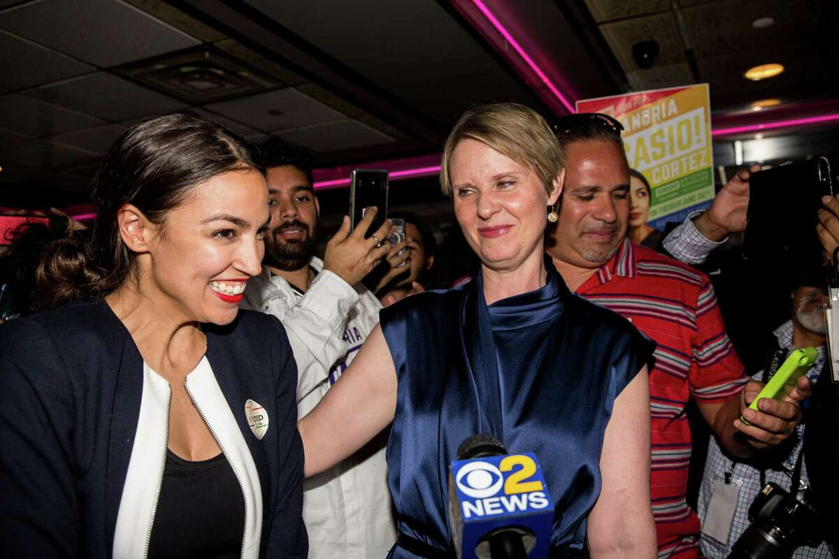 NEW YORK, NY - JUNE 26: Progressive challenger Alexandria Ocasio-Cortez is joined by New York gubenatorial candidate Cynthia Nixon at her victory party in the Bronx after upsetting incumbent Democratic Representative Joseph Crowly on June 26, 2018 in New York City. Ocasio-Cortez upset Rep. Joseph Crowley in New Yorks 14th Congressional District, which includes parts of the Bronx and Queens.