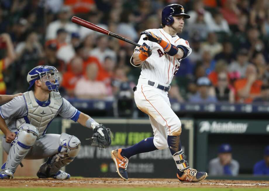 Houston Astros right fielder Josh Reddick (22) after hitting a lead-off single in the bottom of the fourth inning against the Toronto Blue Jays at Minute Maid Park on Wednesday, June 27, 2018 in Houston. Astros won the game 7-6 with a two-run walk off home run.  (Elizabeth Conley/Houston Chronicle) Photo: Elizabeth Conley/Houston Chronicle
