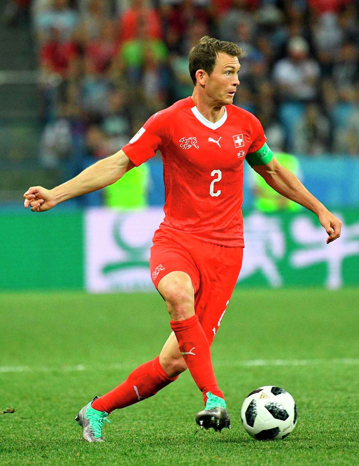 Switzerland's defender Stephan Lichtsteiner controls the ball during the Russia 2018 World Cup Group E football match between Switzerland and Costa Rica at the Nizhny Novgorod Stadium in Nizhny Novgorod on June 27, 2018. / AFP PHOTO / Johannes EISELE / RESTRICTED TO EDITORIAL USE - NO MOBILE PUSH ALERTS/DOWNLOADSJOHANNES EISELE/AFP/Getty Images