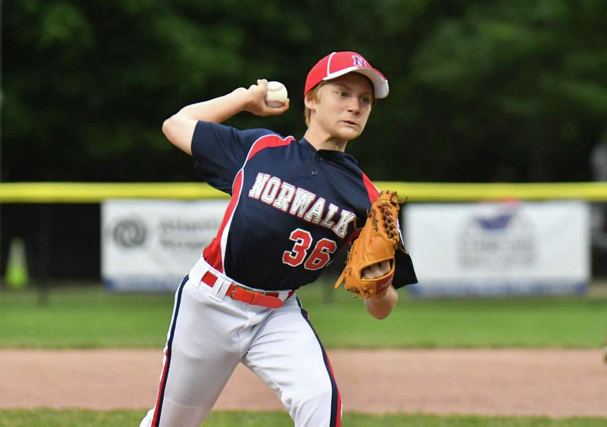 Deron Koppel (36) of Norwalk delivers a pitch during a District 1 Little League game against North Stamford on Wednesday June 27, 2018, at Drotar Park in Stamford, Connecticut.