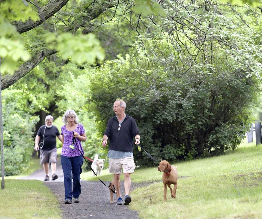 Thursday was a good day for dog walking near Buckingham Pond in Albany. Thunderstorms are expected later in the day and forecasters predict six straight days of temperatures in the 90s could start on Saturday. Photo: Skip Dickstein / Times Union