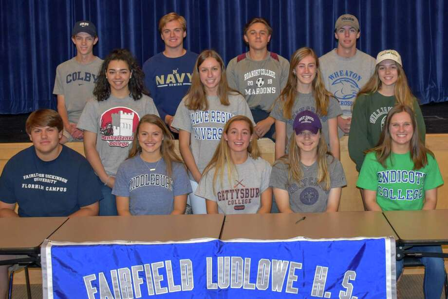 From L to R: Front row: Colby Imbrogno (Fairleigh Dickinson) football; Grace Murphy (Middlebury) field hockey; Lauren Beccaria (Gettysburg) field hockey; Paige Davis (Holy Cross) Track & Field; Allison Wales (Endicott) field hockey. Second row: Jasmine Hamel (Manhattanville) volleyball; Kristen Wales (Salve Regina) field hockey; Grace Flink (Holy Cross) lacrosse; Tory Mileti (Hobart & William Smith) sailing. Third row: Ben Mellor (Colby) Cross Country/Track; James Pushner (U.S. Naval Academy) heavyweight rowing; Chris Jerrild (Roanoke) soccer; Alex Berg (Wheaton) lacrosse. Photo: Contributed Photo / Art Cockerham