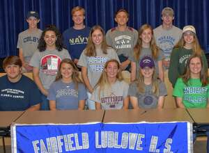 From L to R: Front row: Colby Imbrogno (Fairleigh Dickinson) football; Grace Murphy (Middlebury) field hockey; Lauren Beccaria (Gettysburg) field hockey; Paige Davis (Holy Cross) Track & Field; Allison Wales (Endicott) field hockey. Second row: Jasmine Hamel (Manhattanville) volleyball; Kristen Wales (Salve Regina) field hockey; Grace Flink (Holy Cross) lacrosse; Tory Mileti (Hobart & William Smith) sailing. Third row: Ben Mellor (Colby) Cross Country/Track; James Pushner (U.S. Naval Academy) heavyweight rowing; Chris Jerrild (Roanoke) soccer; Alex Berg (Wheaton) lacrosse.