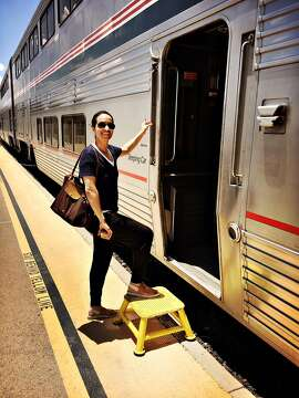 Columnist Caille Millner climbs aboard Amtrak's Sunset Limited train in Texas.
