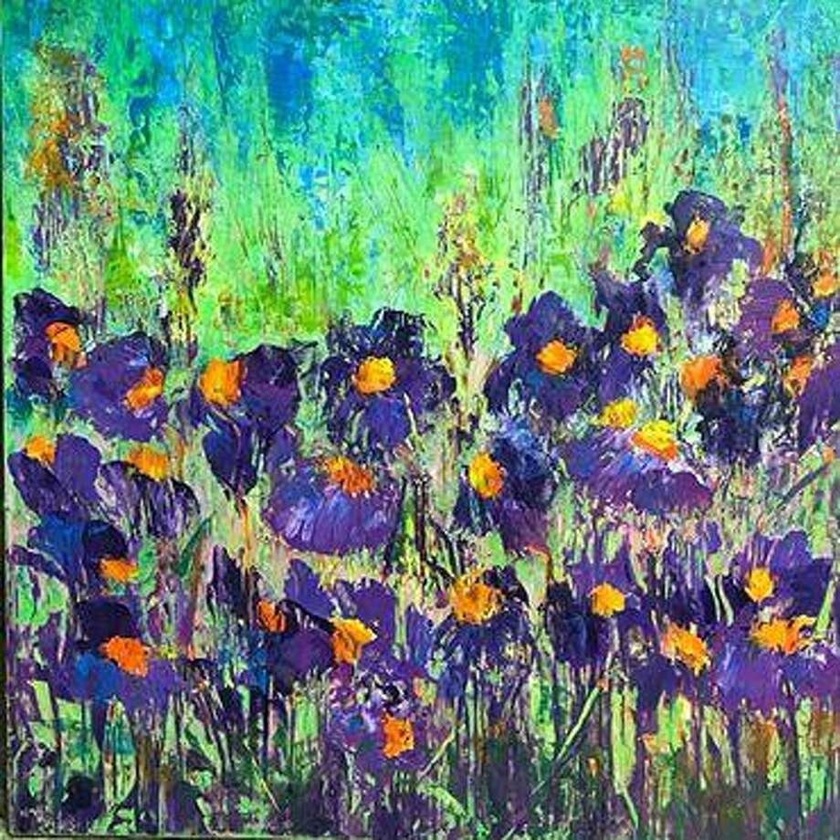 """A mixed media painting titled """"Flowers by the River"""" by Wendy Moreland, which is a sample of the artwork she will be exhibiting throughout the month of July at the Gallery at the Madeley Building, Hillson's Design Services and the Conroe Central Market Gallery in downtown Conroe. Photo: Courtesy Photo"""