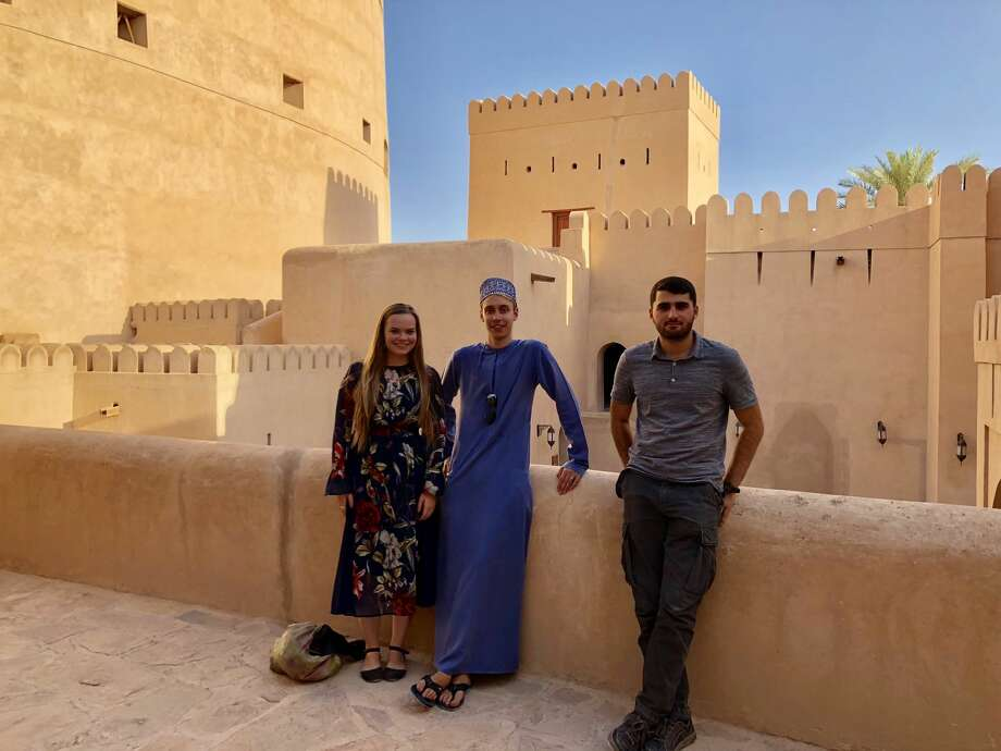 With new friends and fellow students from Austria at the Nizwa Fort.