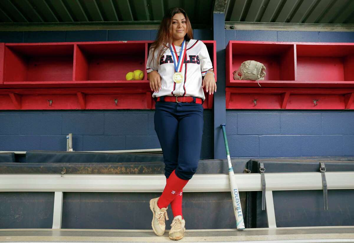 Jenika Lombrana, the All Greater Houston softball pitcher of the year, at her home field dugout at Atascocita High School Wednesday June 20, 2018 in Humble, TX. (Michael Wyke / For the Chronicle)