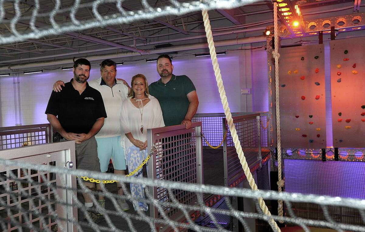 Thrillz, a new entertainment center in Danbury will be opening soon. From left are Jason Clemence, designer/ builder, Rob and Lisa Canon, owners and Joel Earley, manager and artistic director. Photo Tuesday, June 26, 2018.