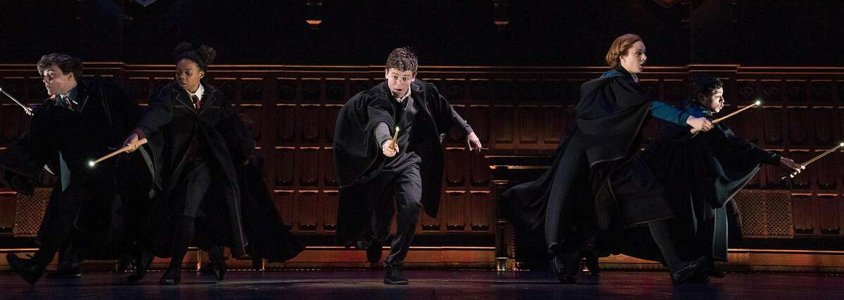 """Sam Clemmett, center, in the play """"Harry Potter and the Cursed Child"""" at the Lyric Theater in New York, April 12, 2018."""