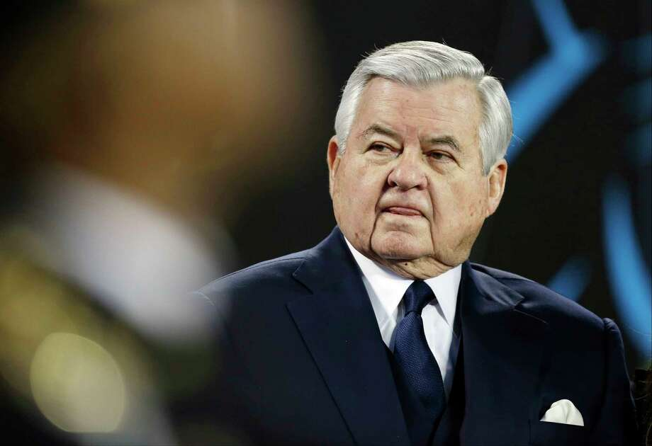 FILE - In this Jan. 24, 2016, file photo, then Carolina Panthers owner Jerry Richardson watches before the NFL football NFC Championship game against the Arizona Cardinals, in Charlotte, N.C. The NFL has fined former Carolina Panthers owner Jerry Richardson $2.75 million following its investigation into sexual and racial misconduct in the workplace. The league said Thursday, June 28, 2018, the investigation conducted by former U.S. Attorney Mary Jo White substantiated allegations against Richardson, that the improper conduct was limited to Richardson and that the team failed to report the allegations or any resolution agreements to the league.(AP Photo/Bob Leverone, File) Photo: Bob Leverone, Associated Press / FR170480 AP