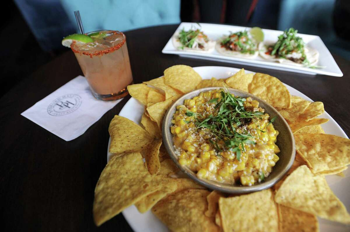 The street corn dip, which includes roasted corn, sour cream, mayo, cilantro, lime, chili powder and cotija, is featured on the menu of Bedford Hall Craft Kitchen and Bar, at 135 Bedford St., in downtown Stamford, Conn.