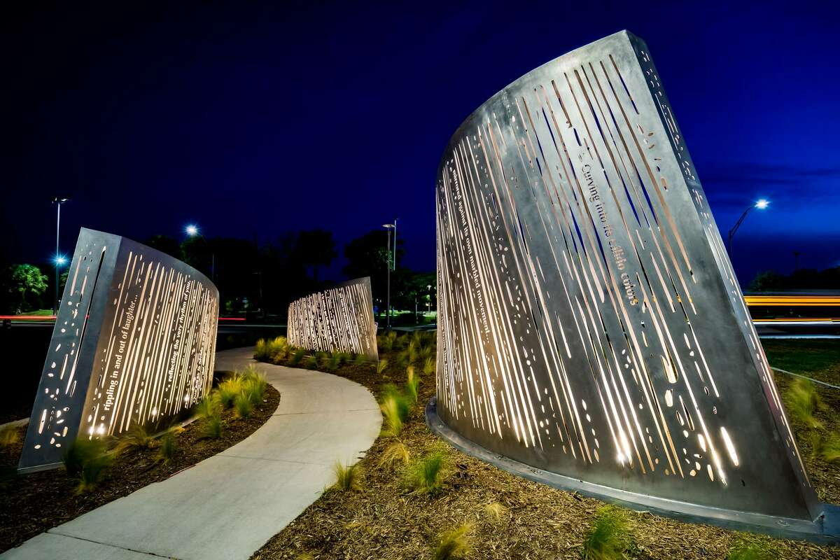 The Elmendorf Lake Park installation is illuminated at night.