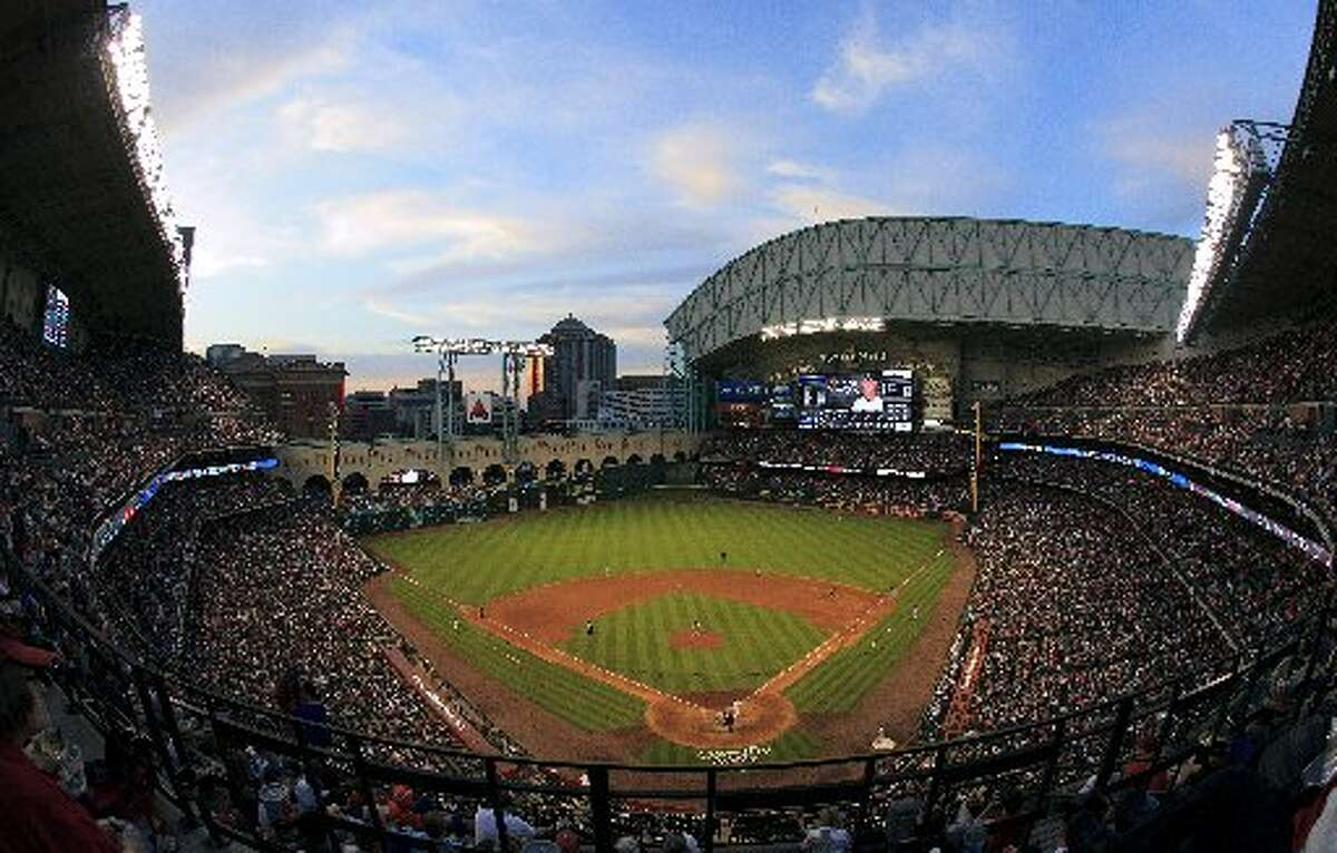 A general view of Minute Maid Park as the Houston Astros play the Colorado Rockies on Opening Day at Minute Maid Park on April 6, 2012 in Houston, Texas. (Photo by Bob Levey/Getty Images)