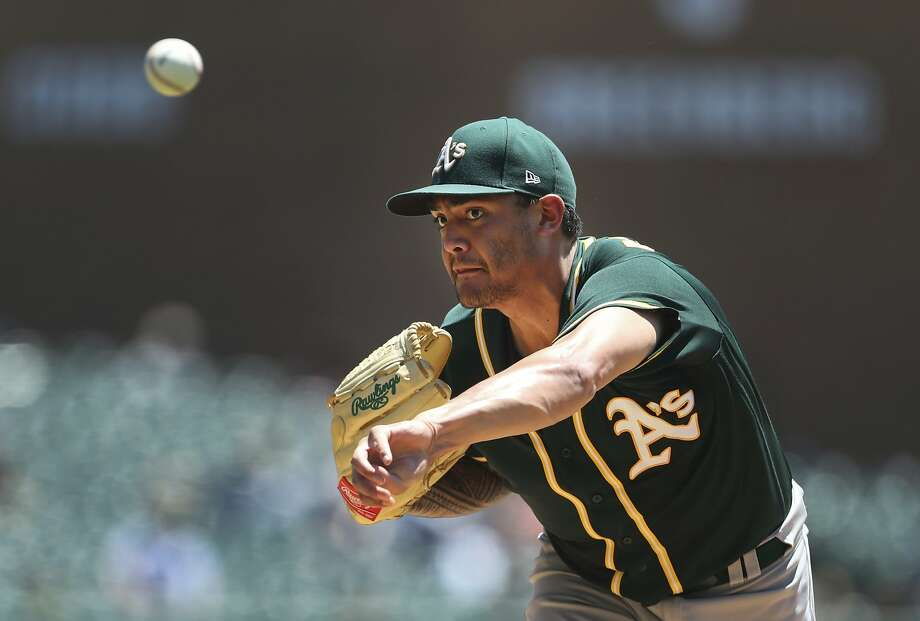 Oakland Athletics starting pitcher Sean Manaea throws during the second inning of a baseball game against the Detroit Tigers, Thursday, June 28, 2018, in Detroit. (AP Photo/Carlos Osorio) Photo: Carlos Osorio / Associated Press