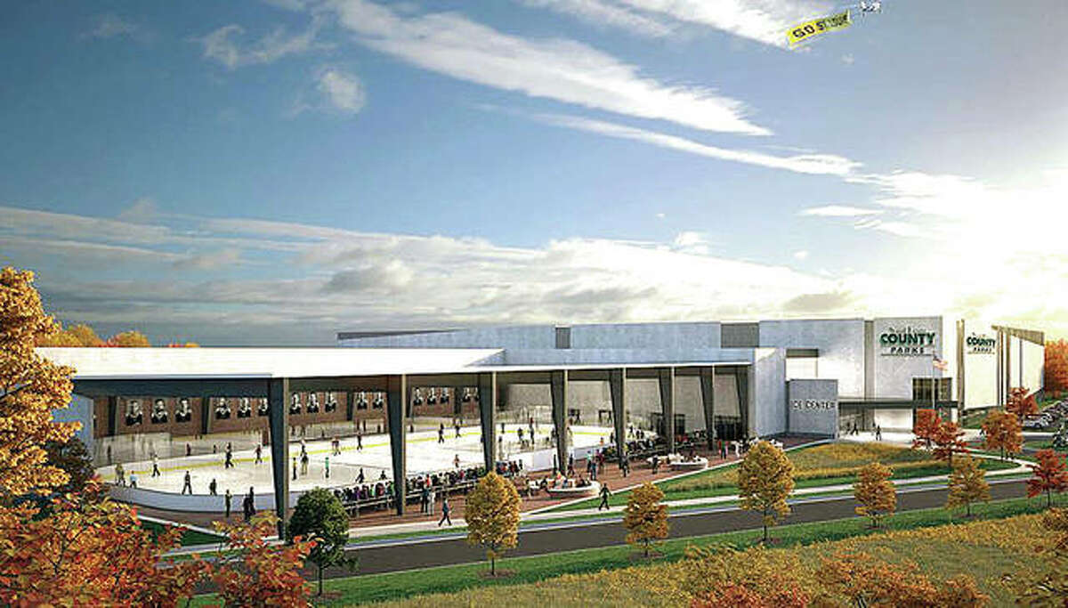 An architect's rendering of $68 million ice complex that will be built in Maryland Heights, Missouri. It will be the new practice home of the st. Louis Blues.