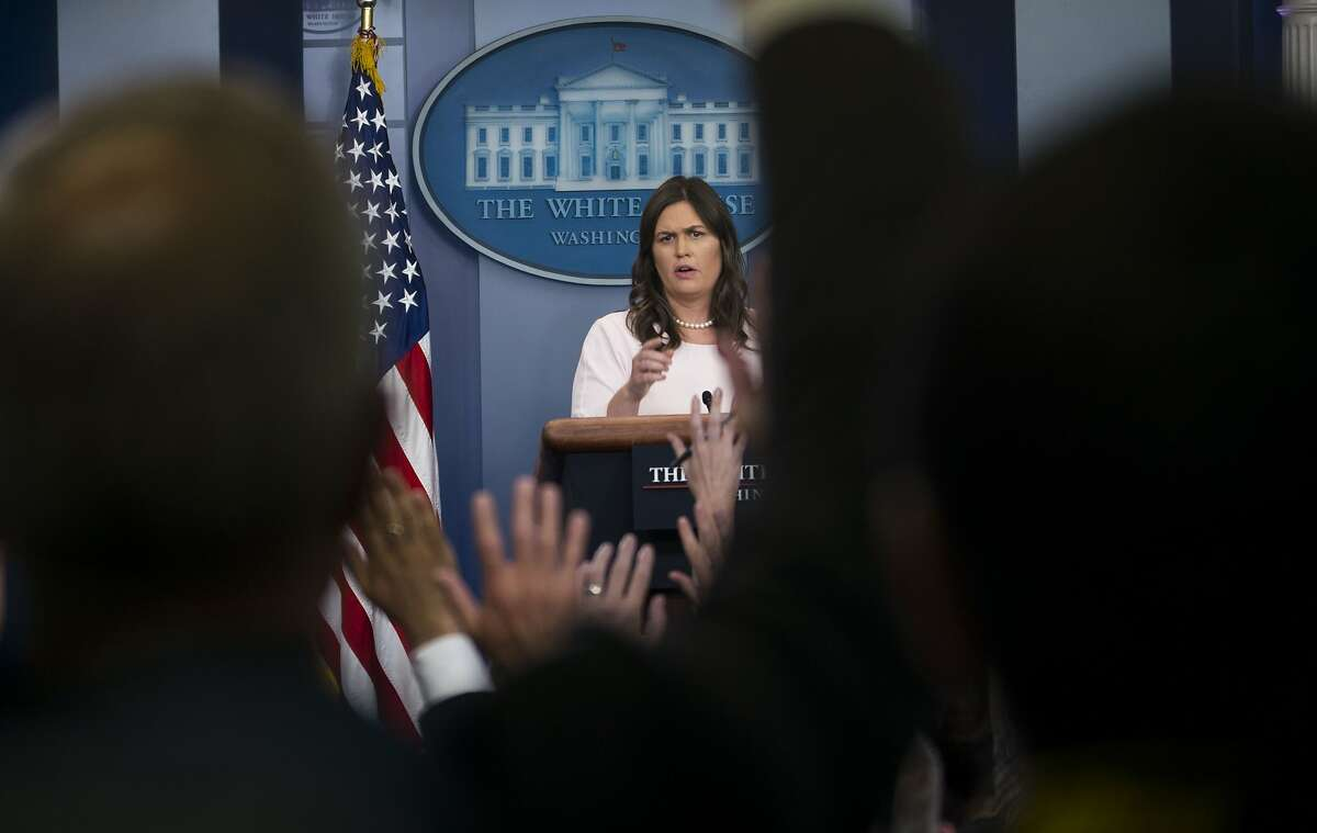 FILE-- Sarah Huckabee Sanders, the White House press secretary, during the daily briefing at the White House, in Washington, June 4, 2018. President Donald Trump on June 25, criticized a Virginia restaurant that refused the previous Friday to serve Sanders, offering a somewhat belated defense of a prominent figure in his administration after she was targeted for her association with his policies. (Doug Mills/The New York Times)