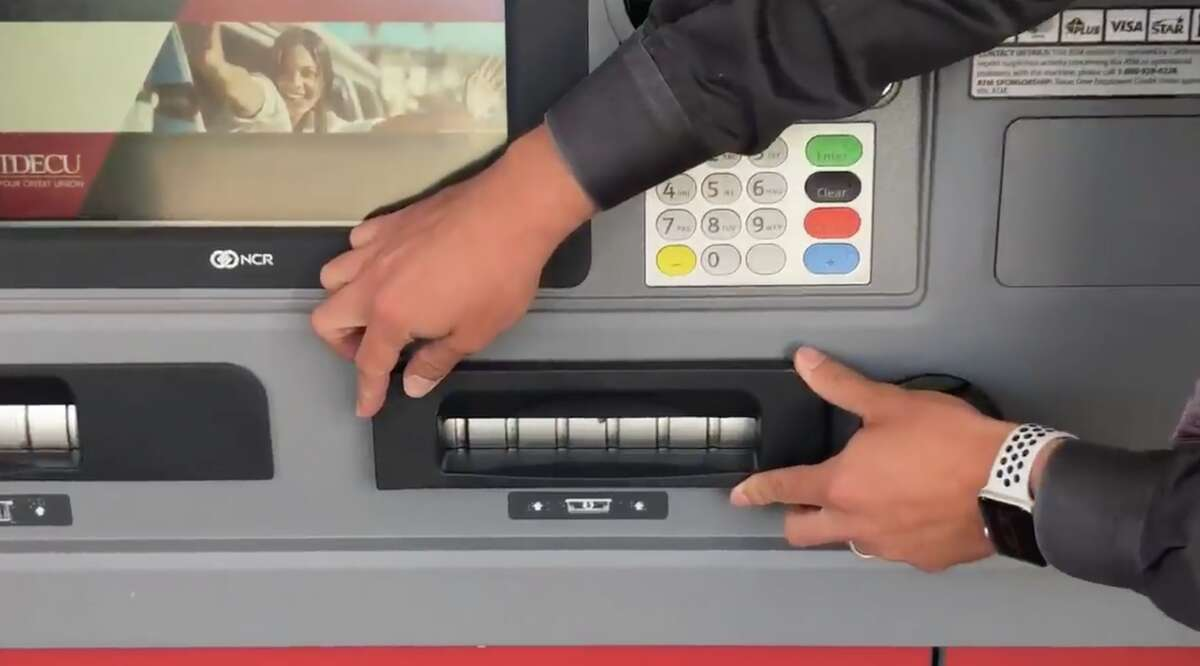 A skimmer on an ATM.
