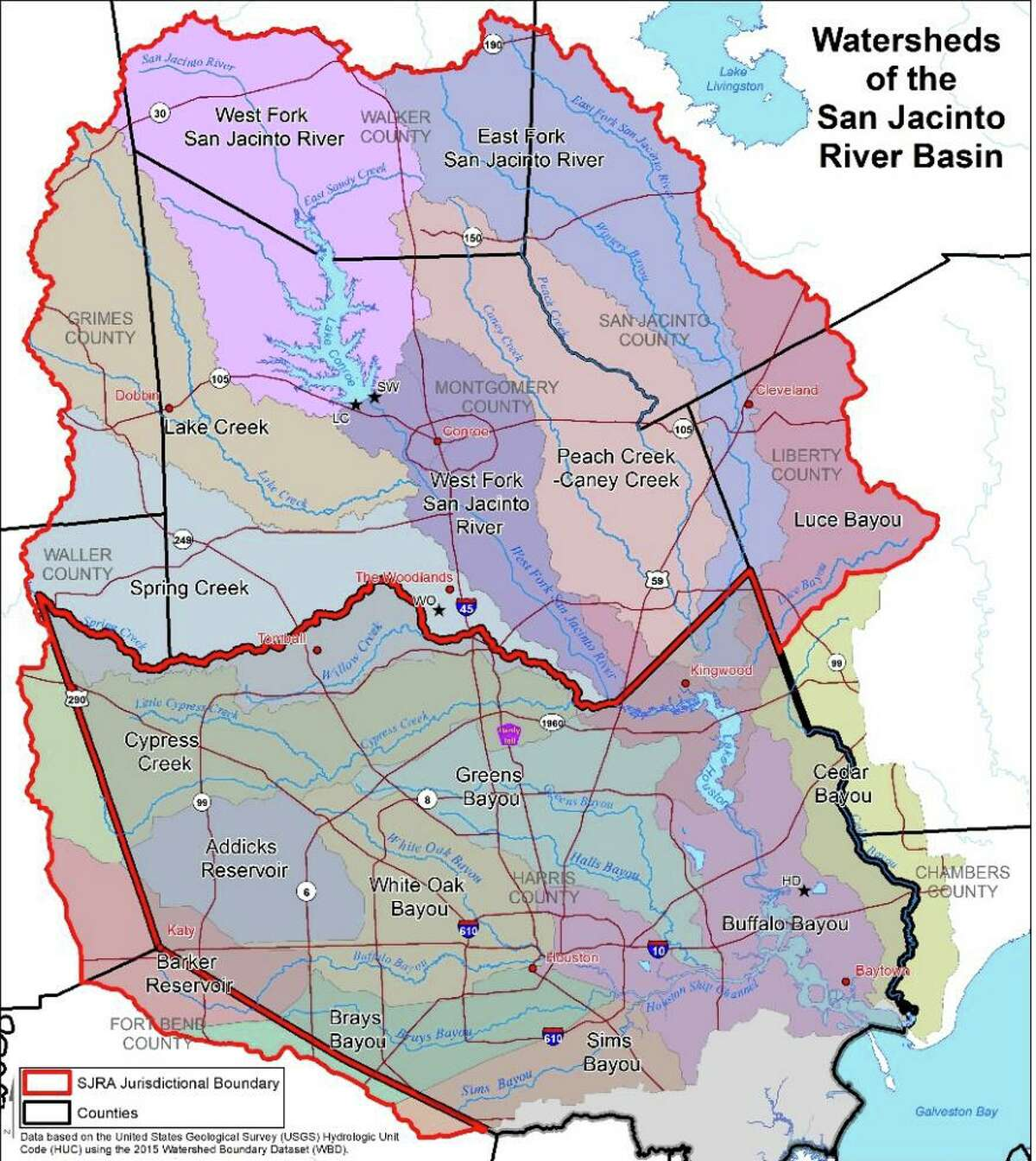 The San Jacinto River Authority has a large watershed, illustrated with this map.