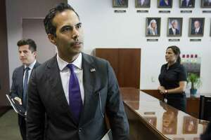 George P. Bush, commissioner of the General Land Office, arrives to discusses long-term Hurricane Harvey recovery funds during a news conference at the Houston City Hall Annex on Thursday, June 28, 2018, in Houston. The recovery efforts include the first round of funding for buyouts through CDBG-DR funds.( Brett Coomer / Houston Chronicle )