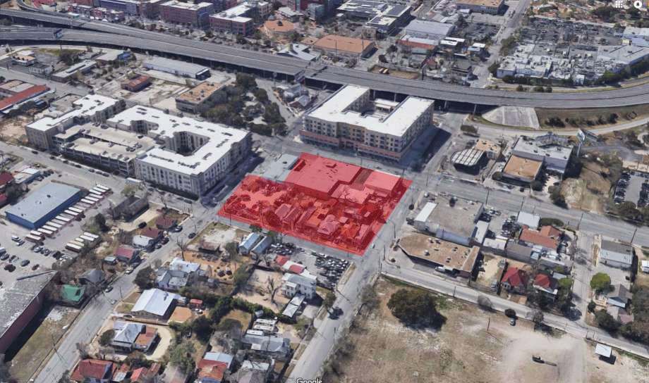 Jefferson Bank executives have purchased nearly an entire city block on Broadway across from the Pearl that was recently rezoned to allow for the construction of retail and high-rise offices. Photo: Google Maps