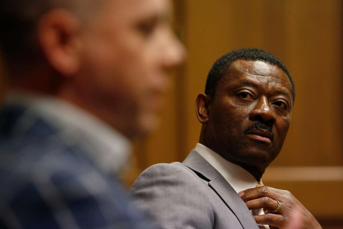 Mike Clinebell, left, and Kofi Bonner, right, officials of the company FivePoint that is re-developing the Hunters Point Naval Shipyard, speak to the editorial board at the San Francisco Chronicle on Thursday, June 28, 2018 in San Francisco, Calif. The shipyard has a disturbing record of environmental mitigation.