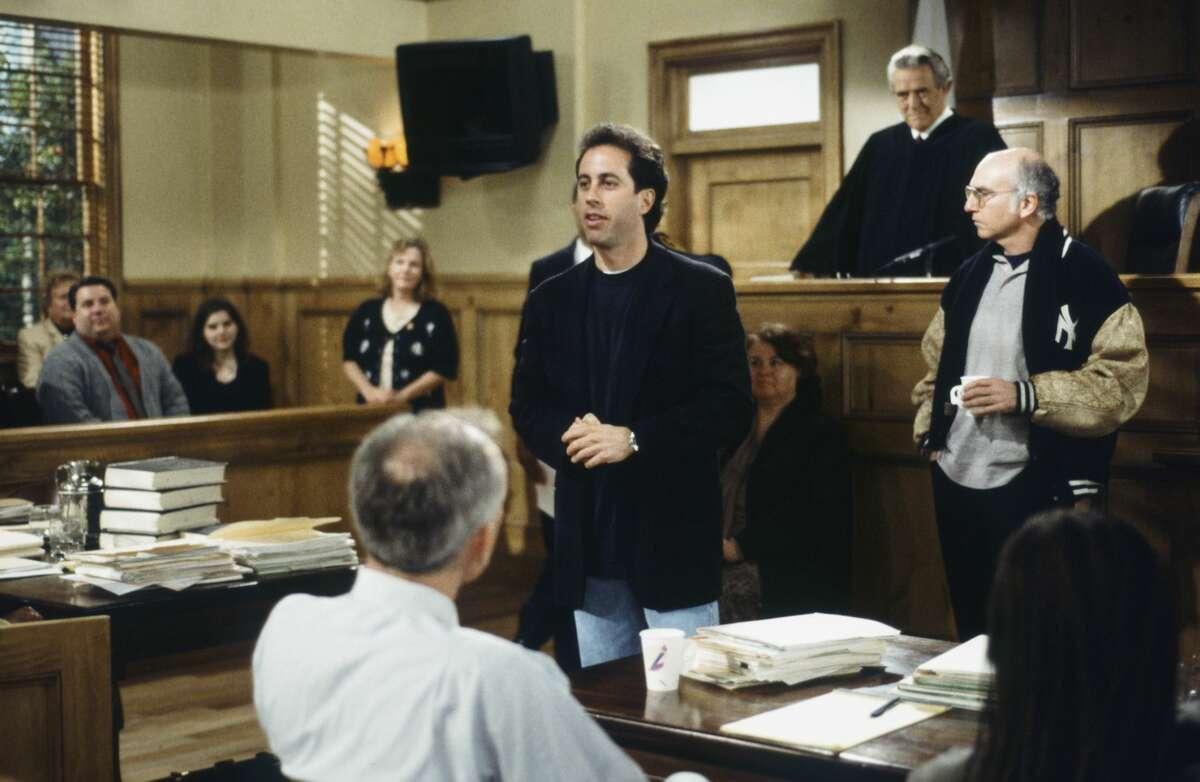 "SEINFELD -- ""The Finale: Part 1&2"" Episode 23 & 24 -- Pictured: (l-r) Jerry Seinfeld as Jerry Seinfeld, Stanley Anderson as Judge Arthur Vandelay, Writer/creator Larry David"