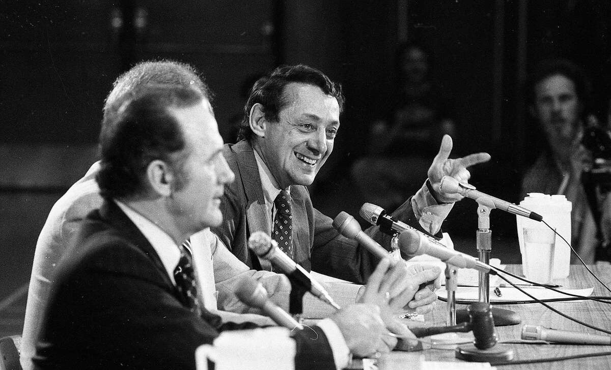 Sept. 15, 1978: San Francisco supervisor Harvey Milk debates John Briggs about Proposition 6, during an event at Northgate High School in Walnut Creek.