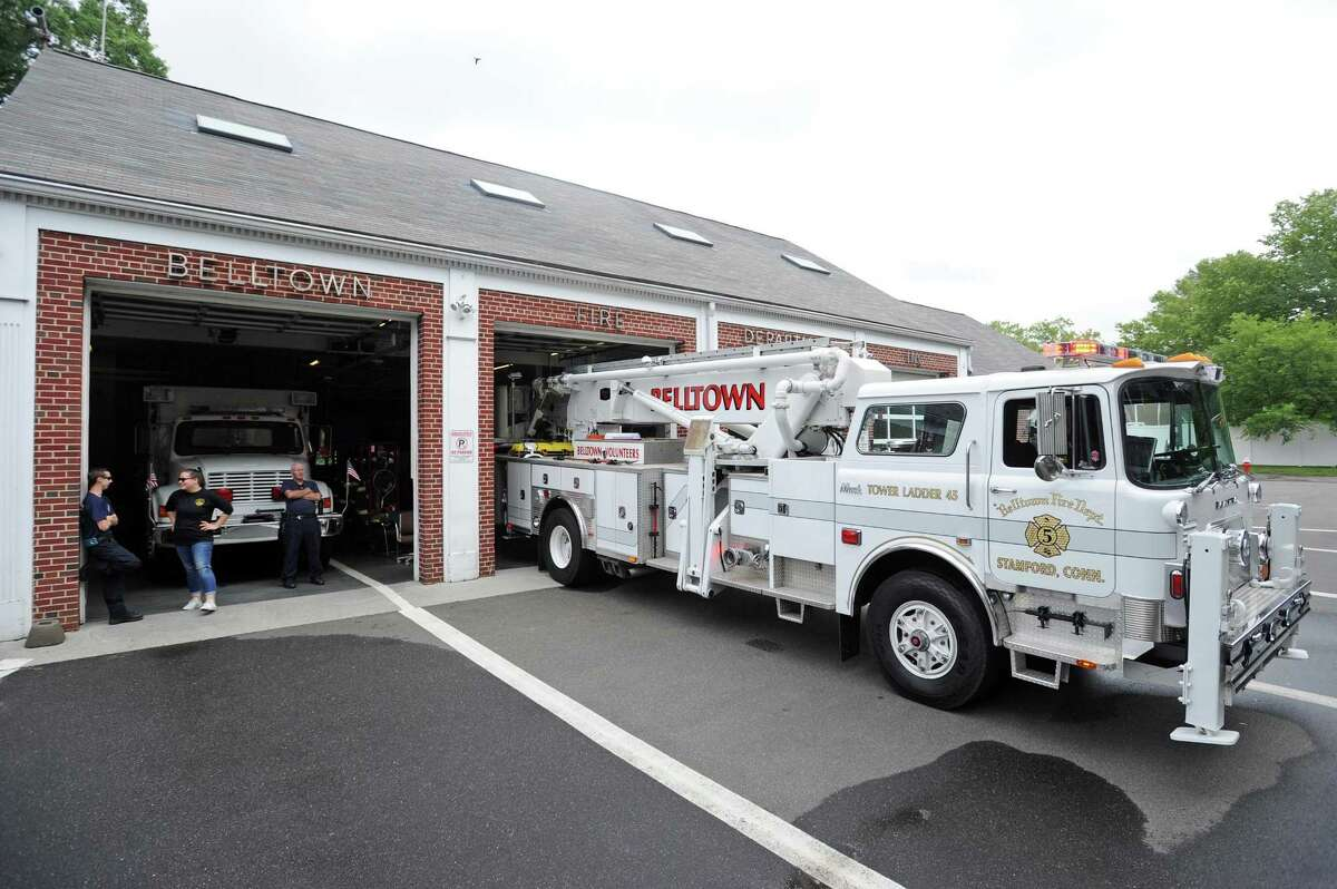 Tower Ladder 45 sits outside the Belltown Fire Department on Dorlen Rd. in Stamford, Conn. on Thursday, June 28, 2018. Firefighters say the truck often gets overlooked in favor of downtown-based trucks for emergencies in north Stamford, which ultimately costs the city more money. Stamford mayor David Martin is doing a second round of budget cuts, and the five volunteer fire houses could be targets for cuts.