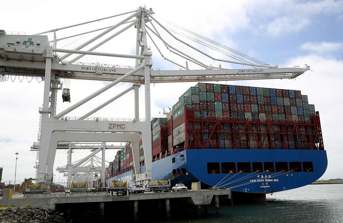 OAKLAND, CA - JUNE 20: The Hong Kong based CSCL East China Sea container ship sits in a berth at the Port of Oakland on June 20, 2018 in Oakland, California. U.S. president Donald Trump has threatened to impose 10 percent tariffs on $200 billion of Chine