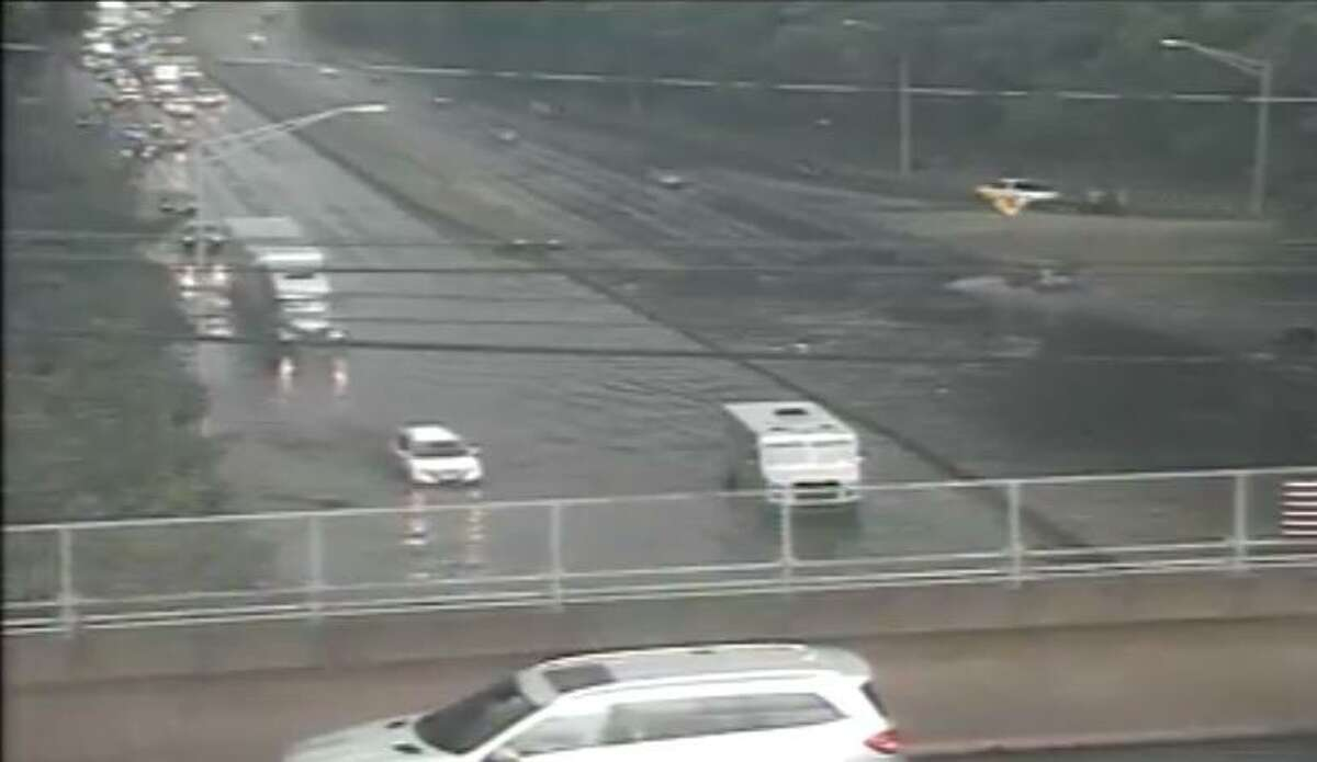 Traffic cameras show flooding on Interstate 95 following the thunderstorm Thursday, June 28.