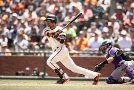 SAN FRANCISCO, CA - JUNE 28:  Gorkys Hernandez #7 of the San Francisco Giants hits a single that scored a run against the Colorado Rockies in the fourth inning at AT&T Park on June 28, 2018 in San Francisco, California.  (Photo by Ezra Shaw/Getty Images)