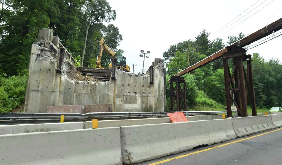 As seen from the southbound side of the Merritt Parkway, the West Rocks Road bridge is entirely removed on Thursday June 28, 2018 in Norwalk Conn. The bridge is undergoing a Connecticut Department of Transportation $4.1 million overhaul and will remain closed until the end of August. Photo: Alex Von Kleydorff / Hearst Connecticut Media / Norwalk Hour
