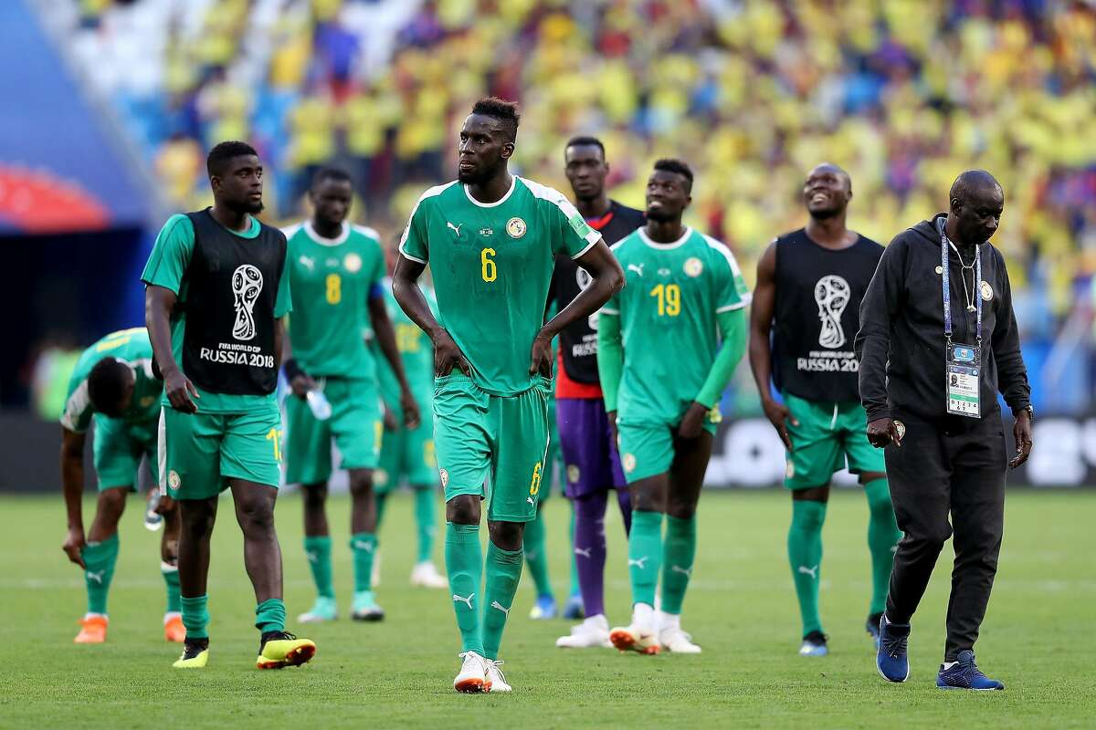 SAMARA, RUSSIA - JUNE 28: Salif Sane of Senegal looks dejected following his sides defeat in the 2018 FIFA World Cup Russia group H match between Senegal and Colombia at Samara Arena on June 28, 2018 in Samara, Russia. (Photo by Michael Steele/Getty Images)