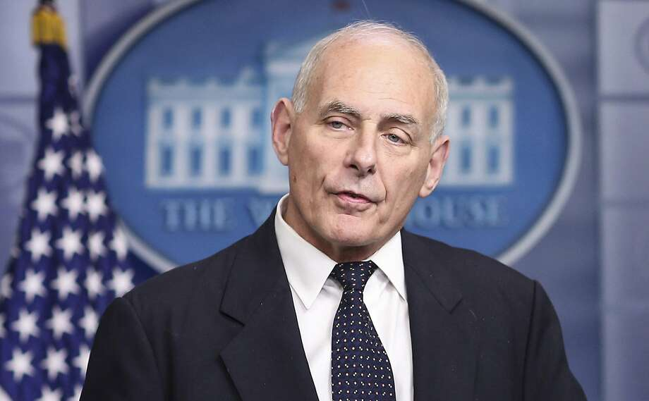 FILE -- White House Chief of Staff John Kelly speaks to the media during the daily briefing in the Brady Press Briefing Room of the White House on October 19, 2017, in Washington, D.C. Kelly reportedly got physical with Corey Lewandowski during a heated argument earlier this year, pushing Lewandowski against a wall. Photo: Olivier Contreras, TNS
