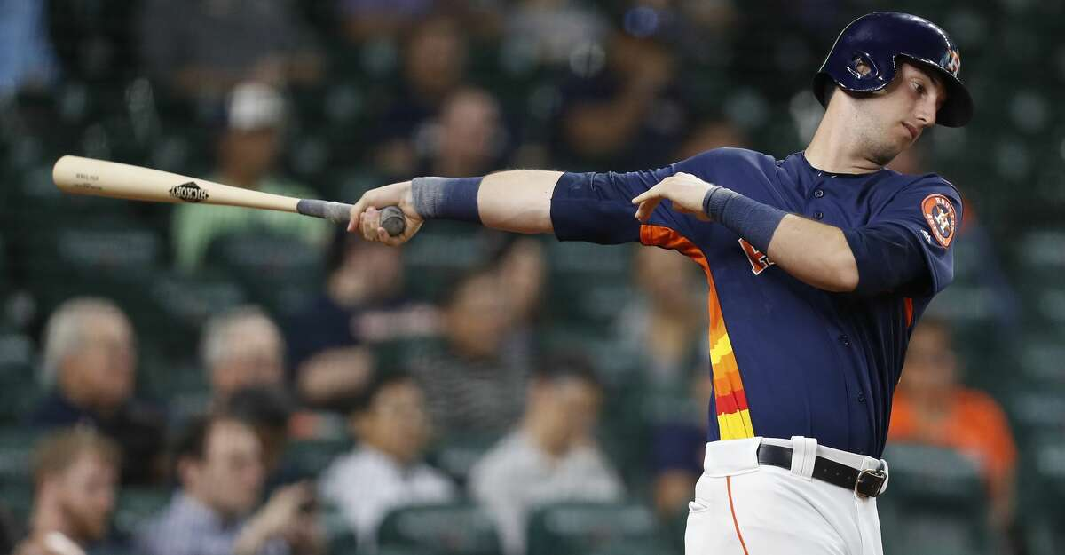 Houston Astros Kyle Tucker warms up in the on deck circle during the fourth inning of an MLB exhibition game at Minute Maid Park, Tuesday, March 27, 2018, in Houston. ( Karen Warren / Houston Chronicle )