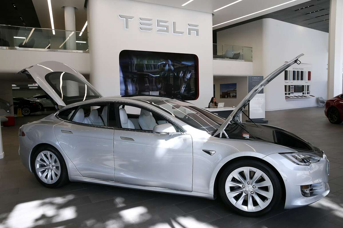 A Model S is displayed at the Tesla store in San Francisco, Calif. on Thursday, June 28, 2018.