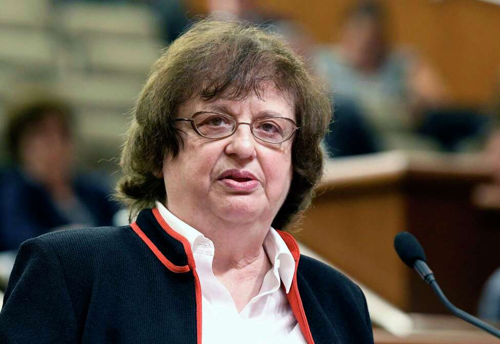 FILE - In this May 15, 2018 file photo, Barbara Underwood speaks to legislative leaders in Albany, N.Y., interviewing her for the office of New York Attorney General to replace Attorney General Eric Schneiderman who resigned amid domestic abuse allegations. (AP Photo/Hans Pennick, File)