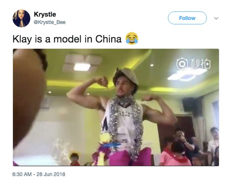 Klay Thompson participated in a children's fashion show during his multi-city tour of China. Photo: Twitter