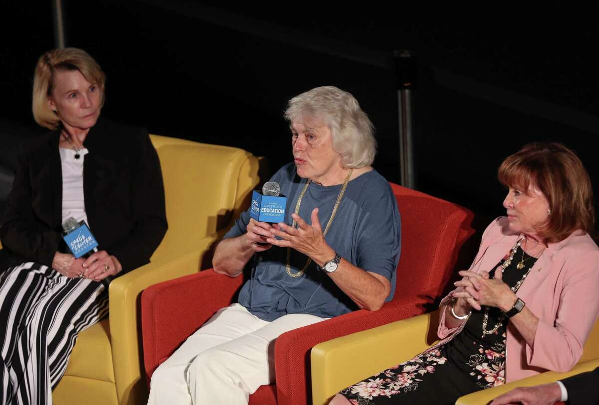 Shannon Lucid, center, talks about her experience as one of the first six women recruited as astronauts by NASA at the Space Center Thursday, June 28, 2018, in Houston. The public event was held on the 35th anniversary of Sally Ride becoming NASA's first female astronaut in space.