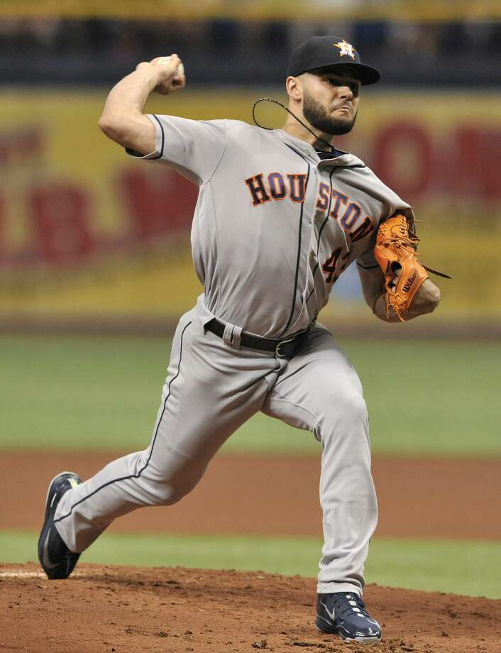 Houston Astros starter Lance McCullers pitches against the Tampa Bay Rays during the first inning of a baseball game Thursday, June 28, 2018, in St. Petersburg, Fla. (AP Photo/Steve Nesius) Photo: Steve Nesius/Associated Press