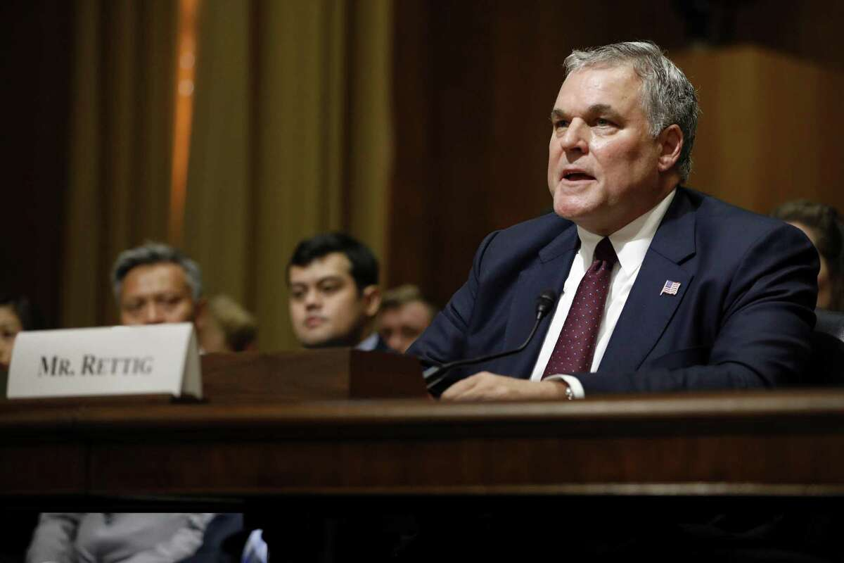 Charles Rettig, President Donald Trump's nominee to be commissioner of the Internal Revenue Service, testifies during his confirmation hearing Thursday before the Senate Finance Committee.