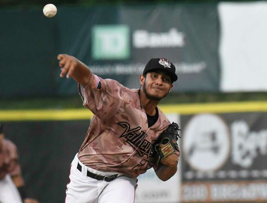 Tri-City ValleyCats pitcher Nivaldo Rodriguez (27) pitches against the Hudson Valley Renegades during a minor league baseball game Thursday, June 28, 2018, in Troy, N.Y. (Hans Pennink / Special to the Times Union) Photo: Hans Pennink / Hans Pennink