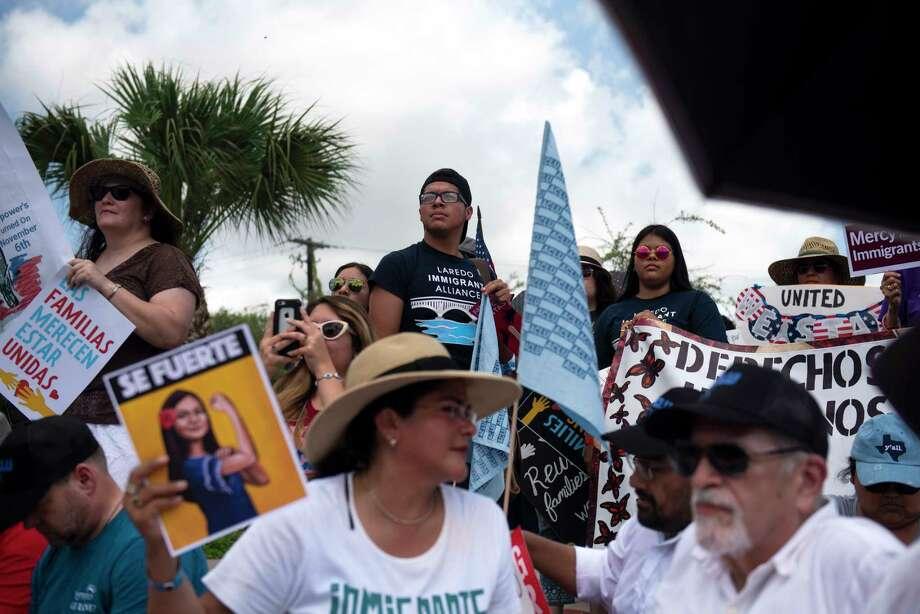 Laredoans joined the hundreds who rallied against the deportation of immigrants and separation of families at Linear Park in Brownsville, Texas, June 28, 2018. Local governments around the United States are starting to sever lucrative ties with federal immigration entities. (Callaghan O'Hare/The New York Times) Photo: CALLAGHAN O'HARE, NYT / NYTNS