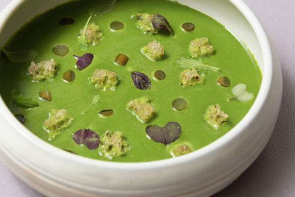 Green garlic soup at the Butterfield restaurant at Hasbrouck House on Friday, June 22, 2018, in the Hamlet of Stone Ridge, Town of Marbletown, Ulster County, N.Y. (Karl Rabe/Special to the Times Union)
