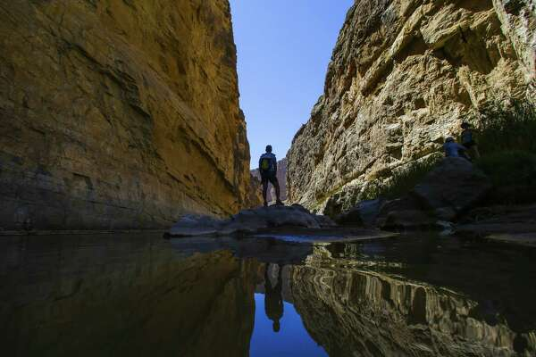 Vipul Devluk stands on a rock along the Santa Elena Canyon trail in Big Bend National Park.